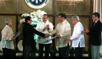 FILE PHOTO: President Benigno S. Aquino lll witnesses Bangsamoro Transition Commission Chairman Mohagher Iqb hand over of the draft Bangsamoro Basic Law to Senate President Franklin Drilon during the turnover ceremony at Rizal Hall in Malacañan Palace, Wednesday (September 10).The Bangsamoro Basic Law tops the list of priority measures endorsed by the Aquino administration. Witnessing are Secretary Teresita Quintos-Deles, Speaker of the House Feliciano Belmonte, Jr., and Executive Secretary Paquito Ochoa, Jr. (Photo by Gil Nartea/Malacañang Photo Bureau)