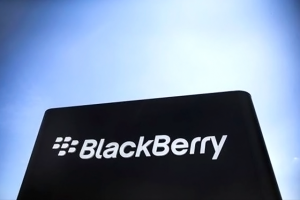 The Blackberry sign is pictured in Waterloo June 19, 2014. CREDIT: REUTERS/MARK BLINCH