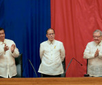 FILE PHOTO: (Left-Right) Senate President Franklin Drilon, President Benigno S. Aquino III at  House Speaker Feliciano Belmonte, Jr.  sa ikalimang State of the Nation Address ng Aquino administration.  (Photo by Benhur Arcayan / Malacanang Photo Bureau)
