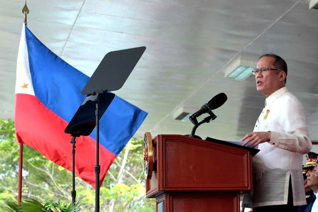 President Benigno Simeon Aquino III delivers his speech during the 36th Philippine National Police Academy (PNPA) Commencement Exercises of the Lakandula Class of 2015 at the PNPA Grandstand, Camp General Mariano Castañeda in Silang, Cavite on Thursday (March 26). (Photo by Gil Nartea / Malacañang Photo Bureau)