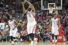 Mar 1, 2015; Houston, TX, USA; Houston Rockets guard James Harden (13) reacts after a play during the fourth quarter against the Cleveland Cavaliers at Toyota Center. Mandatory Credit: Troy Taormina-USA TODAY
