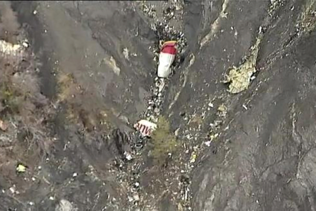 Debris from an Airbus A320 is seen in the mountains, near Seyne-les-Alpes, March 24, 2015 in this still image taken from TV. CREDIT: REUTERS VIA REUTERS TV/POOL