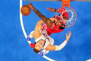 Los Angeles Clippers forward Blake Griffin (32) has his shot blocked by Houston Rockets forward Josh Smith (5) in game six of the second round of the NBA Playoffs at Staples Center. Mandatory Credit: Richard Mackson-USA TODAY Sports