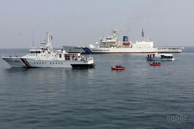 Bahagi ng pagsasanay ng Philippine Coast Guard at Japan Coast Guard sa Cavite  nitong Miyerkules ng umaga. (VICTOR COSARE / UNTV News)