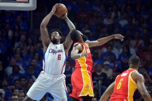 Los Angeles Clippers center DeAndre Jordan (6) is defended by Houston Rockets guard James Harden (13) in game three of the second round of the NBA Playoffs. at Staples Center. Kirby Lee-USA TODAY Sports