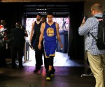 Golden State Warriors guard Stephen Curry (30) walks to the locker room after the game against the Houston Rockets in game four of the Western Conference Finals of the NBA Playoffs. at Toyota Center. Mandatory Credit: Troy Taormina-USA TODAY Sports
