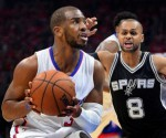 May 2, 2015; Los Angeles, CA, USA; San Antonio Spurs guard Patty Mills (8) guards Los Angeles Clippers guard Chris Paul (3) in the first half of game seven of the first round of the NBA Playoffs at Staples Center. Mandatory Credit: Jayne Kamin-Oncea-USA TODAY Sports
