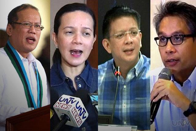 FILE PHOTO: Pres. Benigno Aquino III, Sen. Grace Poe, Sen. Chiz Escudero at DILG Sec. Mar Roxas (UNTV News)