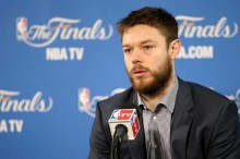 June 7, 2015; Oakland, CA, USA; Cleveland Cavaliers guard Matthew Dellavedova speaks to media following the 95-93 victory against the Golden State Warriors in game two of the NBA Finals at Oracle Arena. Kelley L Cox-USA TODAY Sports