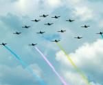 Bahagi na aerial exhibition sa pagdiriwang ng ika-60 anibersaryo ng Philippine Air Force nitong Miyerkules sa Clark Field Pampanga. (Malacanang Photo Bureau)