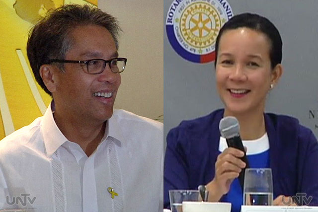 FILE PHOTO: DILG Sec. Mar Roxas and Senator Grace Poe (UNTV News)