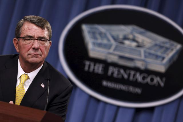 U.S. Defense Secretary Ash Carter listens to questions during a news conference at the Pentagon in Arlington, Virginia in this August 20, 2015 file photo. REUTERS/JONATHAN ERNST
