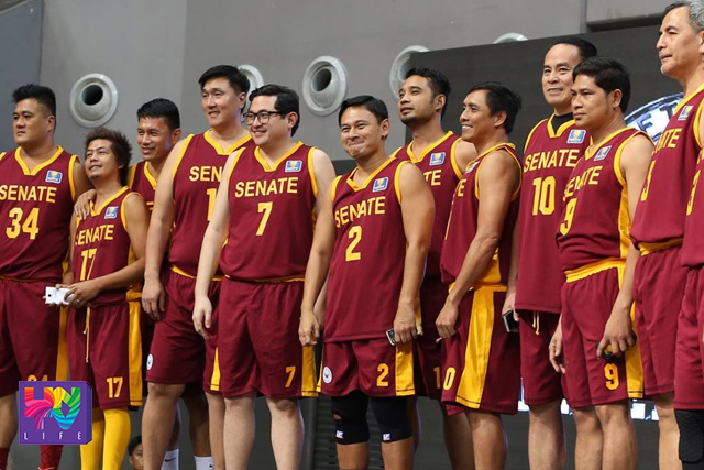 Senators Bam Aquino and Sonny Angara with the rest of Team Senate Defenders during the opening rites of UNTV Cup Season 4  at SM MOA Arena last Aqust 24, 2015. (Photoville International)