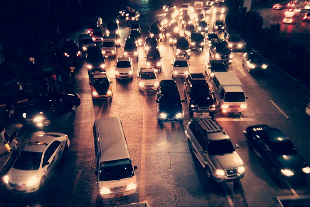 FILE PHOTO: Traffic at North EDSA area at night (Rovic Balunsay / Photoville International)