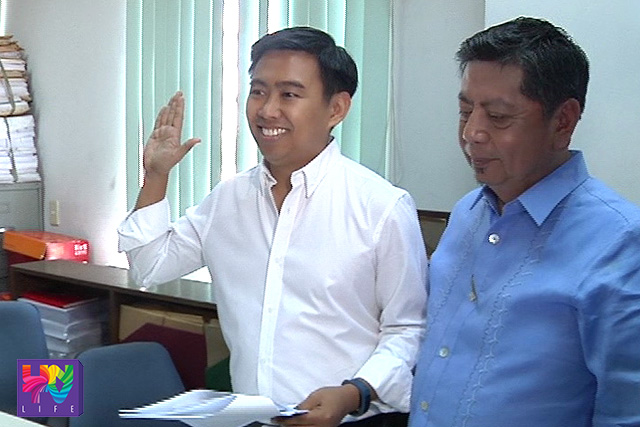 Si Makati City Mayor Jun-Jun Binay sa panunumpa. (UNTV News)