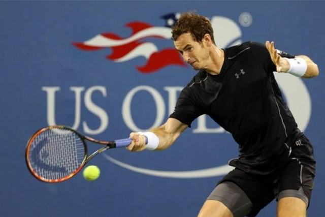 Sep 7, 2015; New York, NY, USA; Andy Murray of Great Britain returns a shot to Kevin Anderson of South Africa on day eight of the 2015 U.S. Open tennis tournament at USTA Billie Jean King National Tennis Center. Mandatory Credit: Jerry Lai-USA TODAY Sports