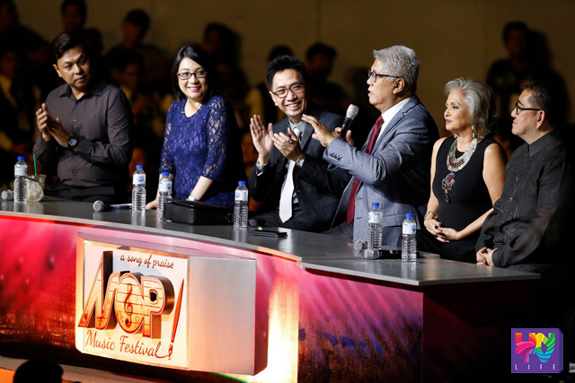(Left-Right) This year grand finals of A Song of Praise Music Festival was judged by Jett Pangan, Lachmi Baviera, Mon del Rosario, Ryan Cayabyab, Celeste Legaspi, and Jungee Marcelo. (PHOTOVILLE INTERNATIONAL)