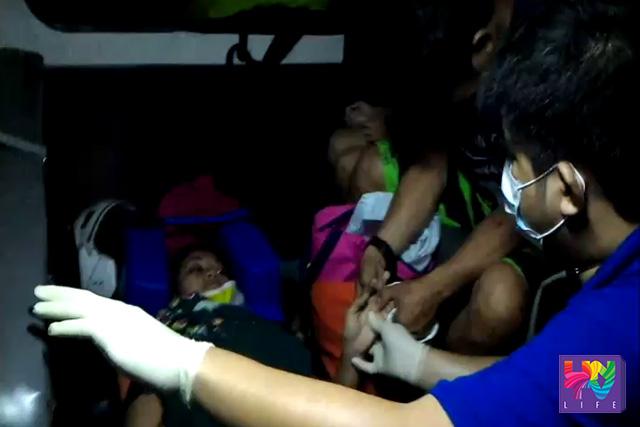 Ang isa sa mga naaksidente sa Balagtas, Bulacan habang isinusugod ng UNTV News and Rescue sa pinakamalapit na hospital.