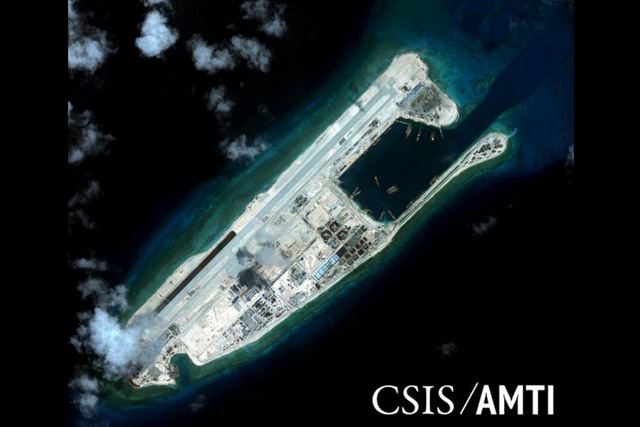 Fiery Cross reef, located in the disputed Spratly Islands in the South China Sea, is shown in this handout Center for Strategic and International Studies (CSIS) Asia Maritime Transparency Initiative satellite image taken September 3, 2015 and released to Reuters October 27,... REUTERS/CSIS ASIA MARITIME TRANSPARENCY INITIATIVE/DIGITALGLOBE/HANDOUT VIA REUTERS