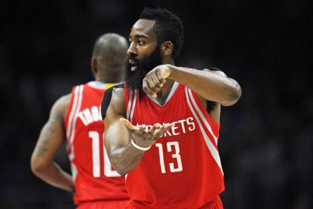 November 7, 2015; Los Angeles, CA, USA; Houston Rockets guard James Harden (13) reacts after scoring a basket against Los Angeles Clippers during the second half at Staples Center. Gary A. Vasquez-USA TODAY Sports