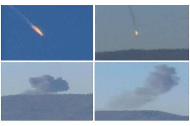 A combination picture taken from video shows a war plane crashing in flames in a mountainous area in northern Syria after it was shot down by Turkish fighter jets near the Turkish-Syrian border November 24, 2015. REUTERS/Reuters TV/Haberturk