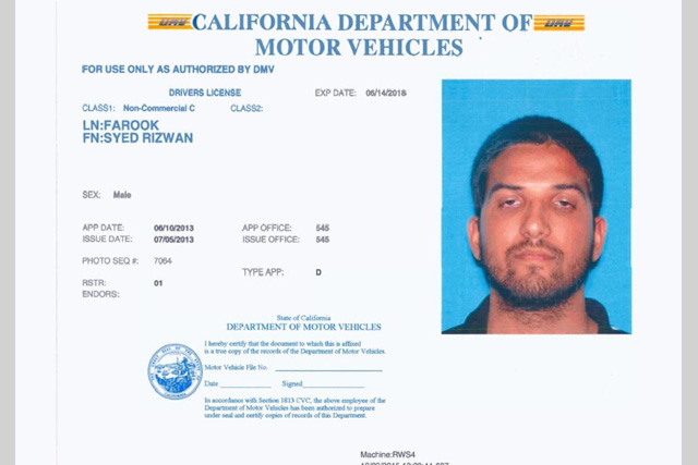Fbi investigating california massacre as 39 act of terrorism for Ca department of motor vehicles registration