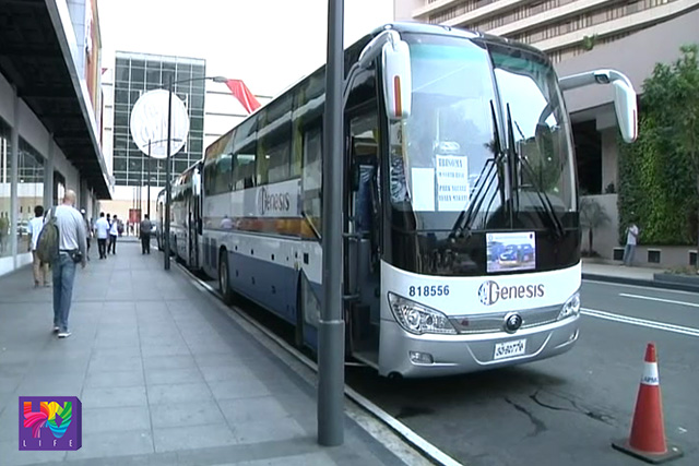 A premium bus from Genesis bus company waiting for passengers to board in last Monday.