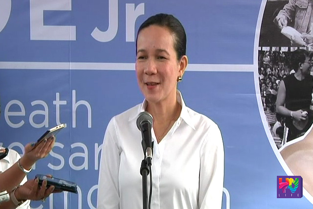 Senator Mary Grace Poe-Llamanzares at his father's death anniversary commemoration, Monday, December 15, 2015. (UNTV News)