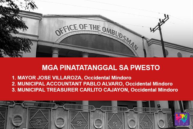 Mga pinatatanggal ng  Office of the Ombudsman sa pwesto matapos mapatunayang guilty ng grave misconduct at dishonesty and conduct prejudicial to the best interest of the service.