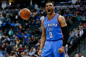 Jan 19, 2016; Denver, CO, USA; Oklahoma City Thunder guard Russell Westbrook (0) reacts after a play in the fourth quarter against the Denver Nuggets at the Pepsi Center. Mandatory Credit: Isaiah J. Downing-USA TODAY Sports
