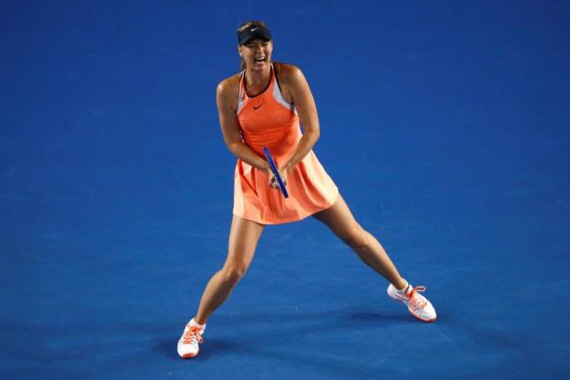 Russia's Maria Sharapova reacts during her third round match against Lauren Davis of the U.S. at the Australian Open tennis tournament at Melbourne Park, Australia, January 22, 2016. REUTERS/Jason Reed