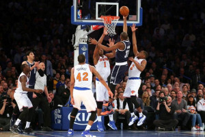 Jan 26, 2016; New York, NY, USA; Oklahoma City Thunder small forward Kevin Durant (35) drives against New York Knicks center Kevin Seraphin (1) and small forward Lance Thomas (42) and shooting guard Langston Galloway (2) during the third quarter at Madison Square Garden. The Thunder defeated the Knicks 128-122 in overtime. Mandatory Credit: Brad Penner-USA TODAY Sports