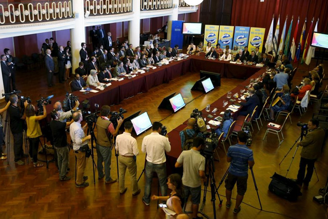 Health ministers from Mercosur-member countries participate in a meeting to discuss policies to deal with the Zika virus at the Mercosur building in Montevideo, February 3, 2016. REUTERS/Andres Stapff