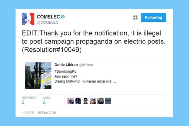 Isang halimbawa sa kampanya ng COMELEC na #SumbongKo.