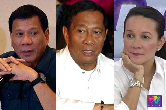 (Left-Right) Mayor Rodrigo Duterte, Vice President Jejomar Binay and Sen. Grace Poe (UNTV News)