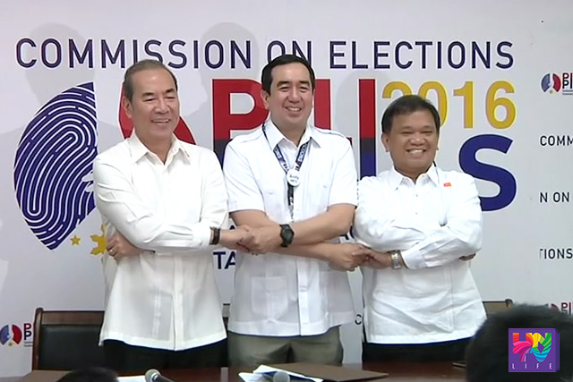 """(Left-Right) DPWH Secretary Rogelio Singson, COMELEC Chairman Andres Bautista and MMDA Chairman Emerson Carlos for """"Operation Baklas""""."""