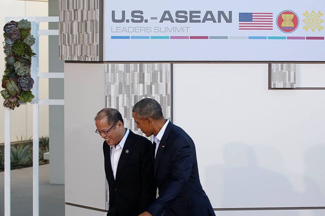 President Benigno S. Aquino III was welcomed by President of the United States Barack Obama at Sunnylands, California for the ASEAN-U.S. Leaders' Summit. (Malacañang Photo Bureau)
