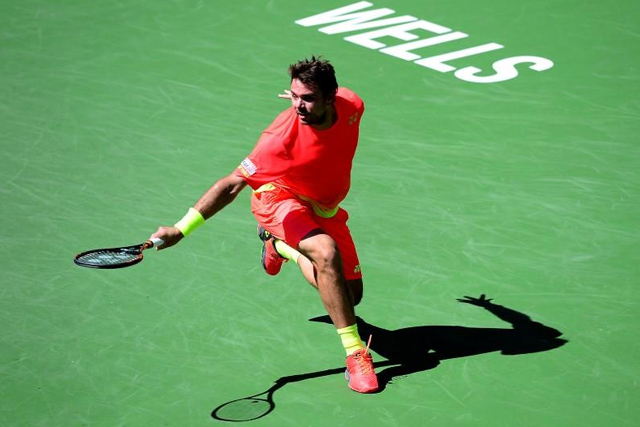 Stan Wawrinka (SUI) during his 4th round match against David Goffin (BEL) in the BNP Paribas Open at the Indian Wells Tennis Garden. Goffin won 6-6-3, 5-7, 7-6. Jayne Kamin-Oncea-USA TODAY Sports