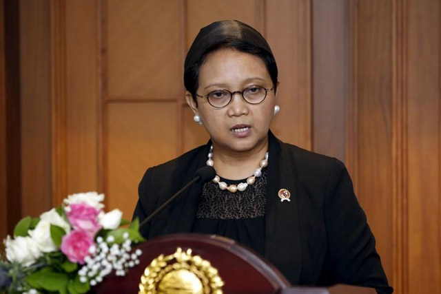 Indonesia's Foreign Minister Retno Marsudi makes a statement at the Foreign Ministry in Jakarta, Indonesia March 21, 2016.REUTERS/Darren Whiteside