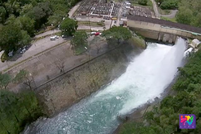 An aerial shot of Angat Dam in Norzagaray, Bulacan. (Photo Courtesy: UNTV Drone)