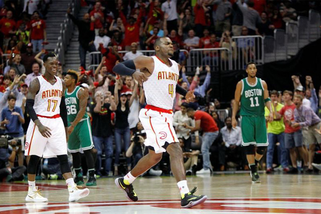 Tuesday, April 26, 2016 Apr 26, 2016; Atlanta, GA, USA; Atlanta Hawks forward Paul Millsap (4) and guard Dennis Schroder (17) react against the Boston Celtics in the third quarter in game five of the first round of the NBA Playoffs at Philips Arena. Mandatory Credit: Brett Davis-USA TODAY Sports