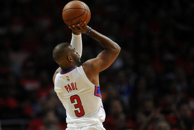 Tuesday, April 26, 2016 April 20, 2016; Los Angeles, CA, USA; Los Angeles Clippers guard Chris Paul (3) shoots a basket against Portland Trail Blazers during the first half at Staples Center. Mandatory Credit: Gary A. Vasquez-USA TODAY Sports