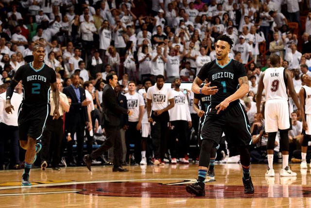 Wednesday, April 27, 2016 Charlotte Hornets guard Courtney Lee (1) reacts after making a basket against the Miami Heat during the second half in game five of the first round of the NBA Playoffs at American Airlines Arena. Mandatory Credit: Steve Mitchell-USA TODAY Sports