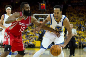 Thursday, April 28, 2016 Golden State Warriors guard Shaun Livingston (34) controls the ball against Houston Rockets guard James Harden (13) during the third quarter in game five of the first round of the NBA Playoffs at Oracle Arena. Mandatory Credit: Kelley L Cox-USA TODAY Sports