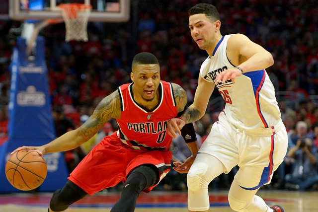 Thursday, April 28, 2016 Los Angeles Clippers guard Austin Rivers (25) guards Portland Trail Blazers guard Damian Lillard (0) in the first half of game five of the first round of the NBA Playoffs at Staples Center. Mandatory Credit: Jayne Kamin-Oncea-USA TODAY Sports