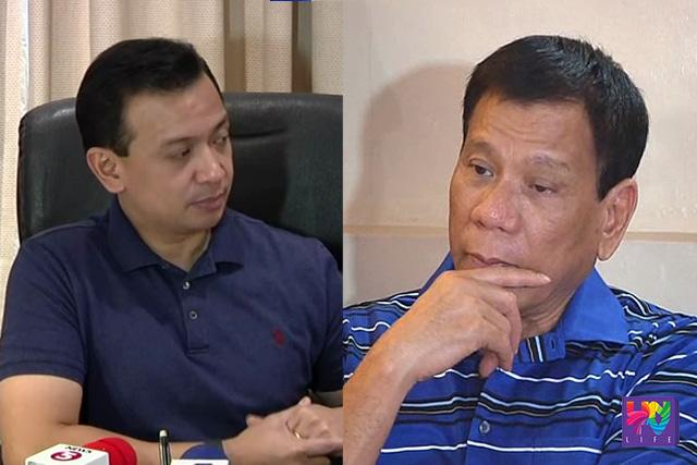 Sen. Antonio Trillanes IV (left) and Davao City Mayor Rodrigo Duterte (right).