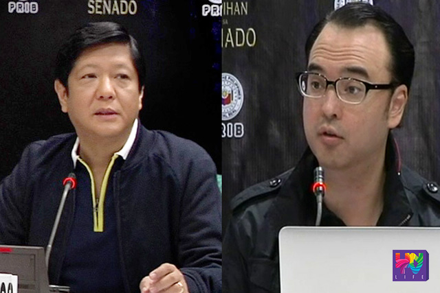 FILE PHOTO: Sen. Bongbong Marcos  and Sen. Alan Peter Cayetano (UNTV News)