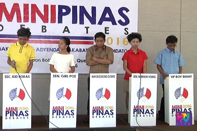 Ang mga batang impersonator ng limang presidential candidates (mula kaliwa pa-kanan) Sec. Kid Roxas, Sen. Girl Poe, Mayor Dodong Duterte, Sen. Miriam Young at VP Boy Binay.
