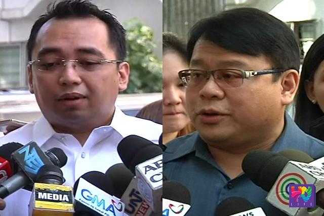 (Sa kaliwa) Atty. Tobi Purisima, abogado ni Mr. Kim Wong. (Sa kanan) Atty. Ferdinand Topacio, abogado ni Ms. Maia Deguito.