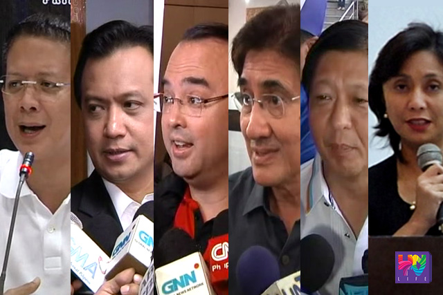Vice Presidential candidates for national elections 2016. (from left to right) Sen. Chiz Escudero, Sen. Antonio Trillanes IV, Sen. Alan Peter Cayetano, Sen. Gringo Honasan, Sen. Ferdinand Marcos Jr. and Congw. Leni Robredo.